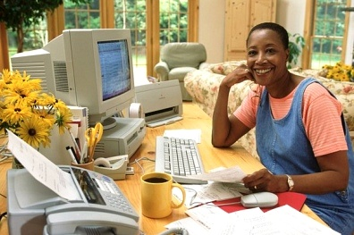 woman home business success