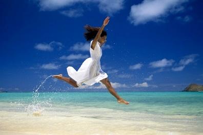 woman joy beach